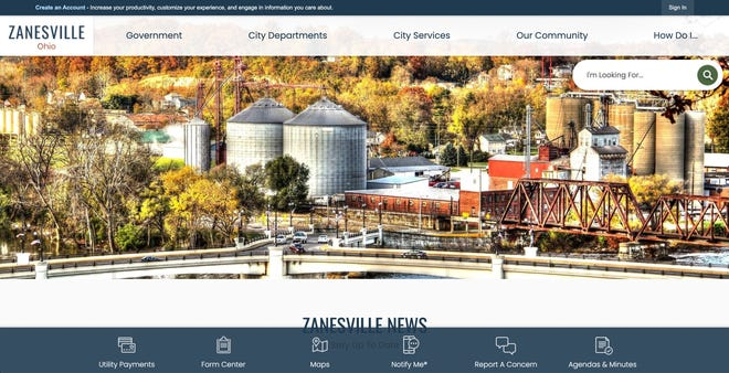 A screen shot of the new City of Zanesville website.