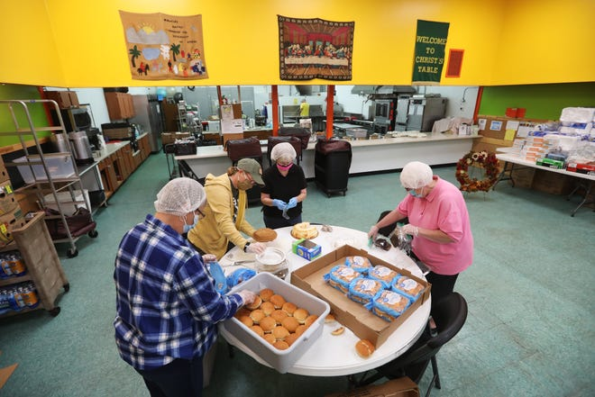 Christ's Table volunteers Judy Kelly, left, Penny Malick, Sally Foglesong and Susie Shannon pack lunches for distribution on Tuesday. Zanesville City Council approved additional CARES Act spending on Monday, including $75,000 to the Zanesville charity.