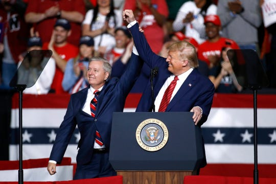 Polls show a tighter race than expected between President Donald Trump and Joe Biden in South Carolina, where Republican Sen. Lindsey Graham, left, is also running for reelection.