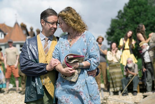 Paddy Considine, left, and Emily Watson co-star as unsettling villagers on Osea Island, which is steeped in eerie rituals and traditions.
