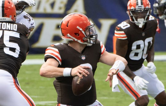 Baker Mayfield completed 21 of 39 passes for 189 yards, 1 TD and 1 INT in Sunday's loss to the Ravens.