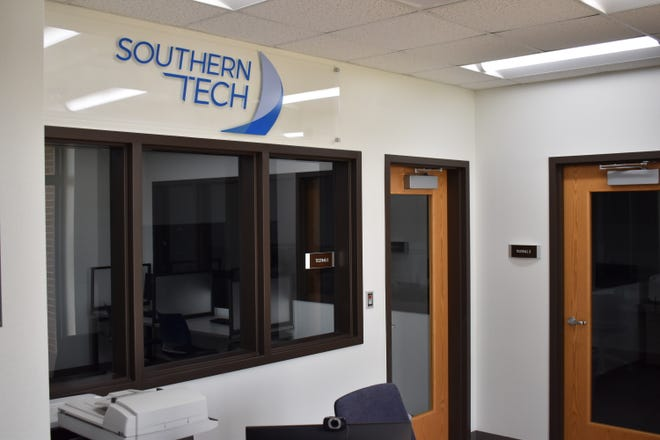 The new testing center at Southern Tech on Wednesday. At least three dozen certification and licensing exams can already be taken at the Ardmore campus, and officials hope to further expand offerings in the state-of-the-art facility.