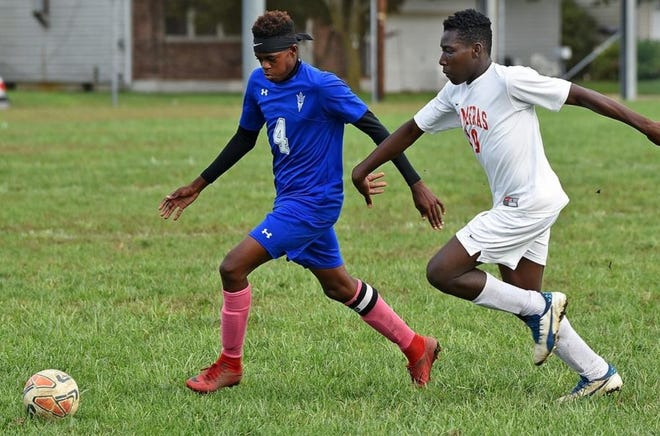 Steven Shaffer of Burlington City (left) led the team with 19 goals last season and has 36 in his career. His senior season is in limbo, however; Burlington City still has not made a determination about participating in fall sports.