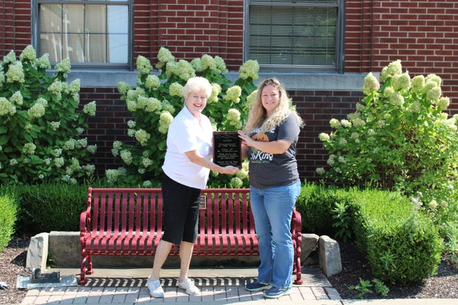 St. Clairsville Mayor Kathryn Thalman, left, accepted the 2020 Cooperator of the Year Award from Hannah Carpenter, district administrator of Belmont Soil and Water Conservation District.