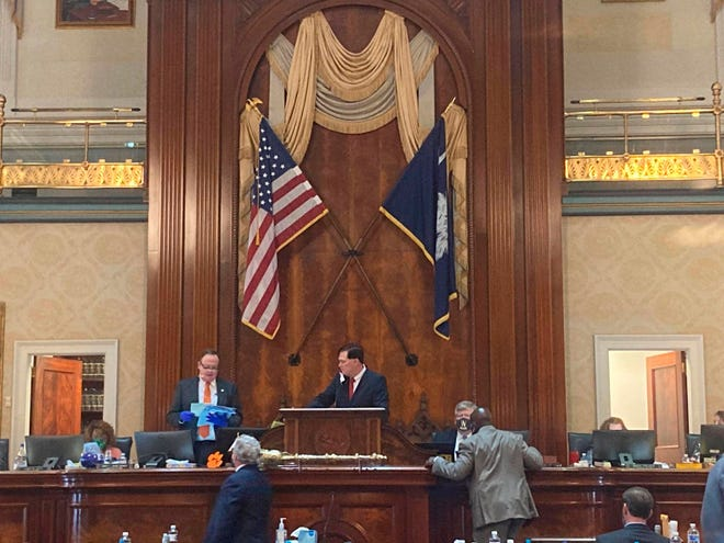 The South Carolina House of Representatives, led by Speaker Jay Lucas, gavels in the start of a two-week special session Tuesday in Columbia. The House debated legislation to expand voting access ahead of the November election.