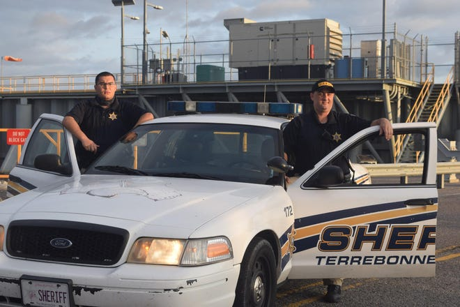 At the Cocodrie Roller Gate on La. 56 Deputies Dylan Fitch and Jacob Fonseca begin their watch Tuesday night.  Submitted by James Loiselle