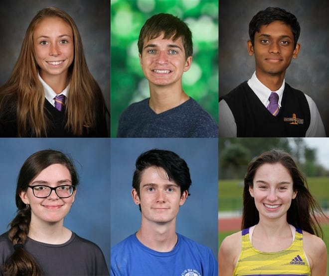 Kendyl Cardwell, Montverde Academy, top left; Jackson Cheplick, East Ridge high School, top middle; Jathin Gadiparthi, Montverde Academy, top right; Audrey Lord, Eustis High School, bottom left; Ruarai McKenna, Eustis High School, bottom middle; Avery Morrison Montverde Academy, bottom right. [Lake County Schools]
