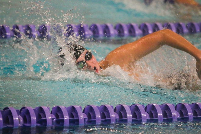 Waukee's Jessica Wigham in the 200 yard freestyle event Sept. 8 in Johnston.