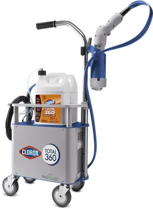 The Clorox Total 360 System is an electrostatic sprayer paired with Clorox disinfecting products.