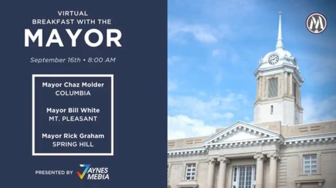 Wednesday's virtual Breakfast with the Mayor included a panel featuring Columbia Mayor Chaz Molder, Spring Hill Mayor Rick Graham and Mt. Pleasant Mayor Bill White. (Courtesy graphic)