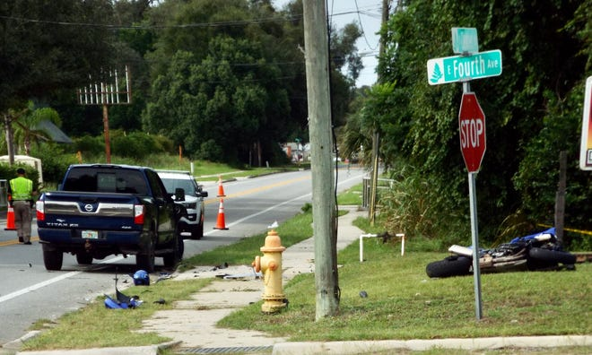 A motorcyclist was killed in a crash with a pickup in Pierson on Wednesday afternoon, the Florida Highway Patrol said.