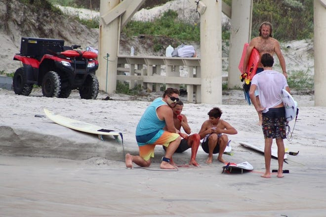 The eighth bite of the year occurred in Ponce Inlet on Sept. 15, where either a tiger or bull shark bit the hand of a St. Augustine surfer. He had 40 stitches and underwent surgery to repair his hand.