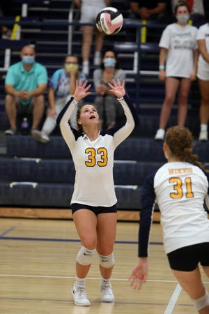 Notre Dame High school's Karli Artman (33) sets the ball  during their match against Holy Trinity High School,Tuesday Sept. 15, 2020 at Notre Dame's Father Minett gymnasium.