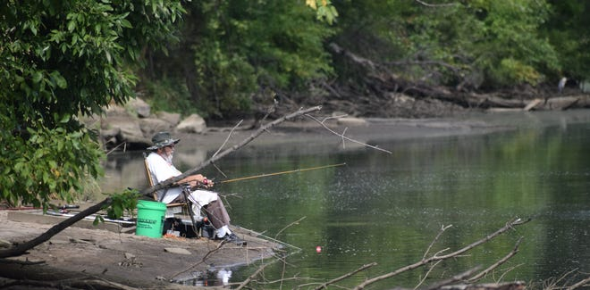 The water level at the 4th Pumping Station Recreation Area near Oakville was low Monday, but the panfish were biting.