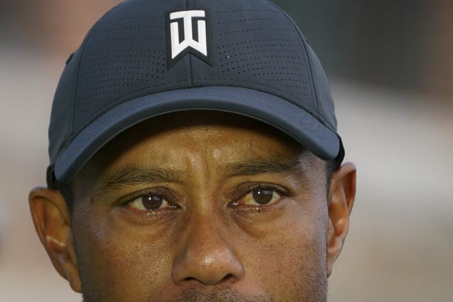Tiger Woods is interviewed during practices before the U.S. Open Championship golf tournament at Winged Foot Golf Club, Tuesday, Sept. 15, 2020, in Mamaroneck, N.Y.