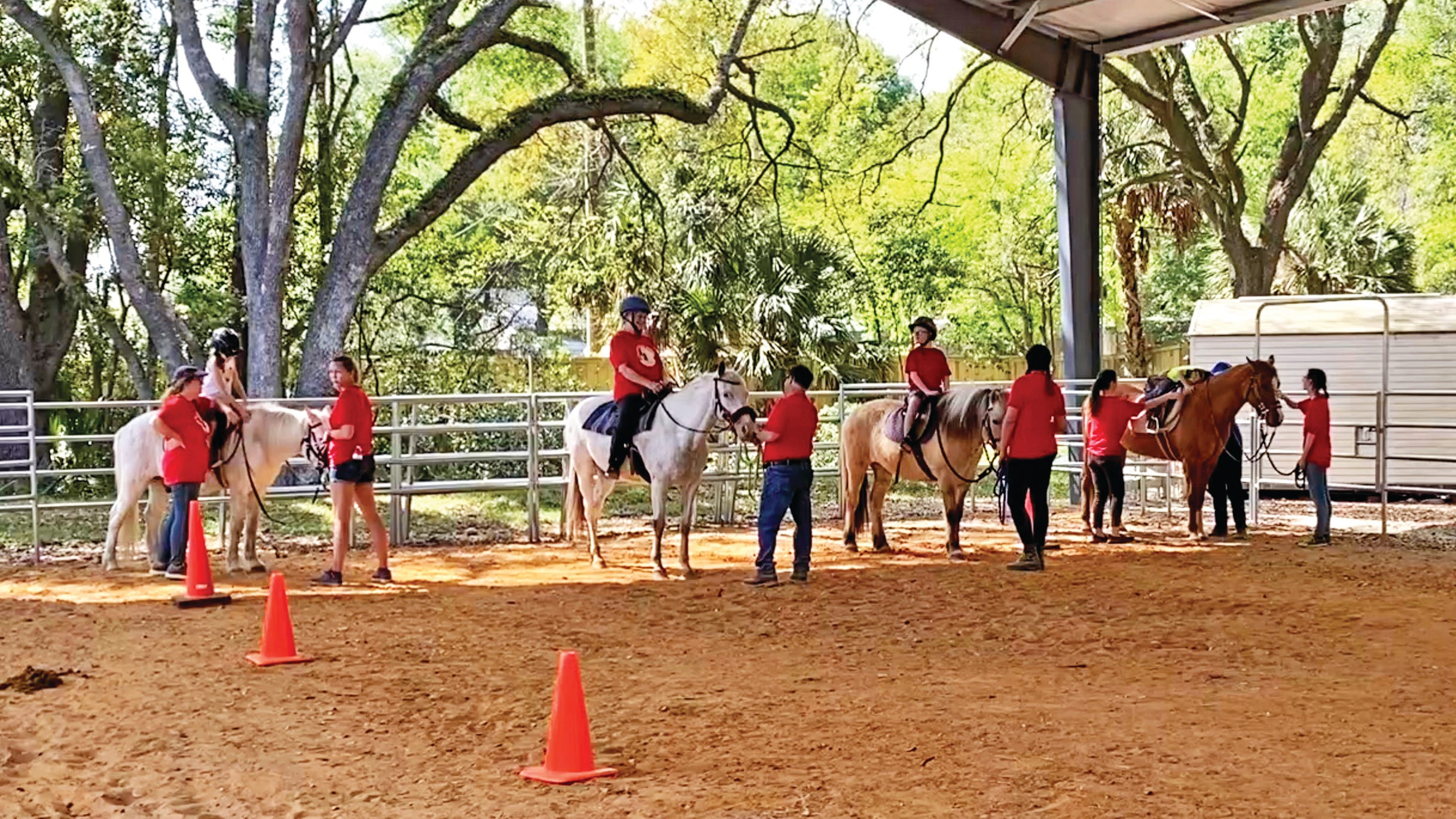 A riding class gets underway at the North Florida School of Special Education in Jacksonville.