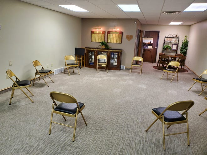 Pictured is the social distanced group support room at the GriefCare Place in Stow.