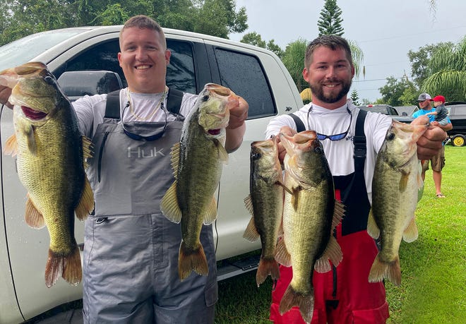 Jacob Eaton, left and Austin Reynolds had 17.00 pounds and a 5.72-pound big fish to win the Polk County Division of the Xtreme Bass Series tournament on Sept. 13 on Lake Marion.