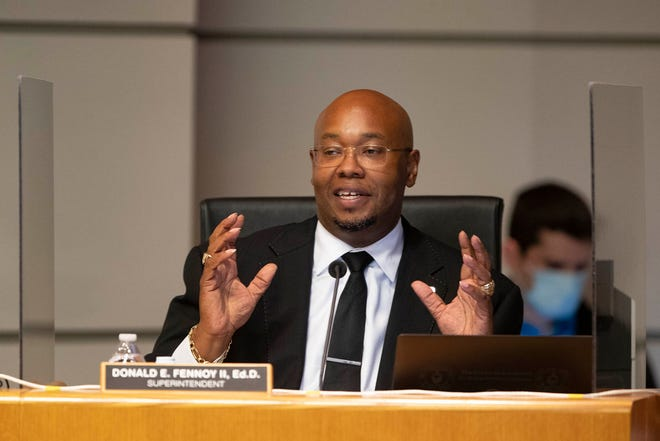 Palm Beach County Schools Superintendent Donald Fennoy addresses the school board Sept. 16 at district headquarters outside of West Palm Beach.
