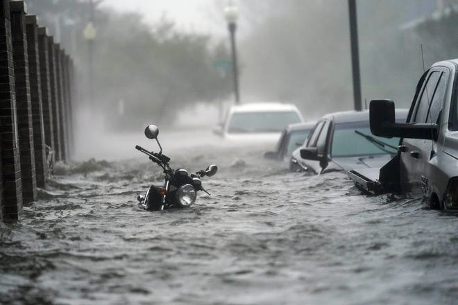 Floodwaters in Pensacola on Sept. 16 after Hurricane Sally made landfall near Gulf Shores, Ala., as a Category 2 storm.