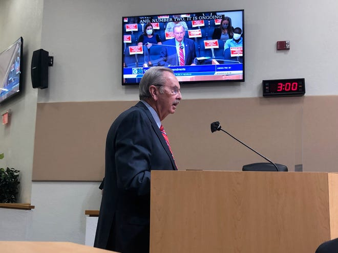 Palm Beach County Sheriff Ric Bradshaw speaks Tuesday during the county's final budget hearing, where some residents demanded accountability and transparency from law enforcement.