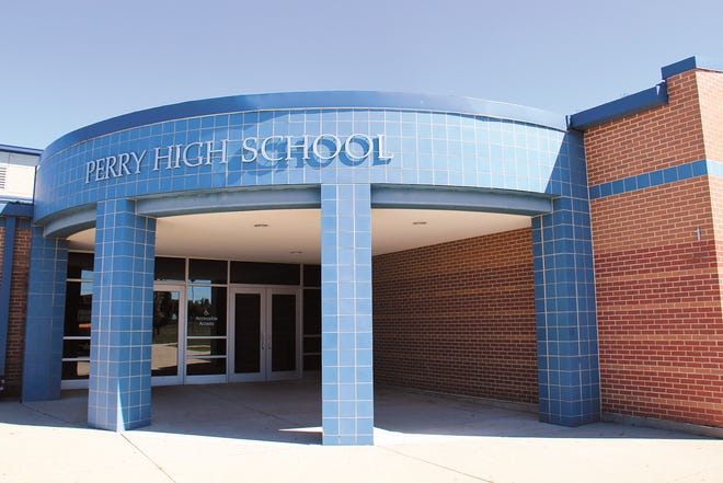 The entrance to Perry High School.