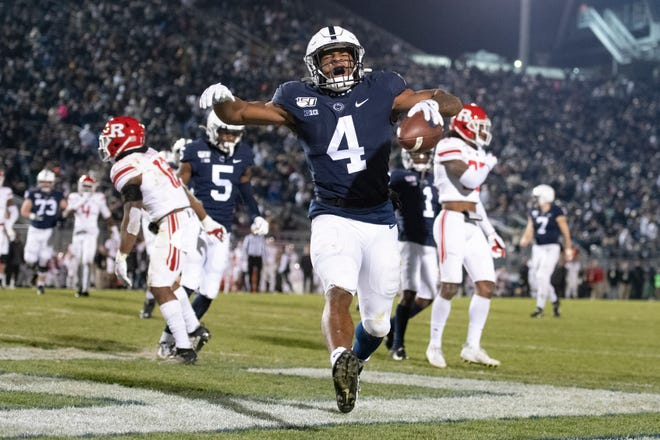 Penn State running back Journey Brown celebrates his third-quarter touchdown run in a Nov. 30 game against Rutgers at State College, Pa.