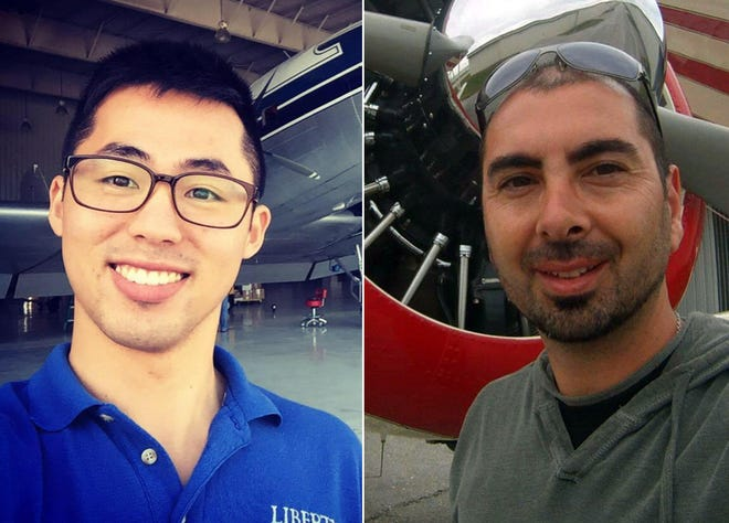 Pilots Haram Patrick Yu of Tampa and Roman Scarfo of Sarasota disappeared Sunday while flying back from Gulf Shores, Alabama.