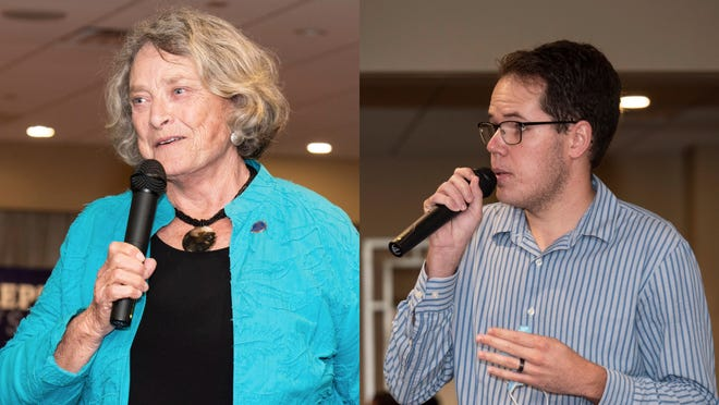 Incumbent Sarasota County Commissioner Nancy Detert and challenger Cory Hutchinson address the South County Tiger Bay Hob Nob in July.