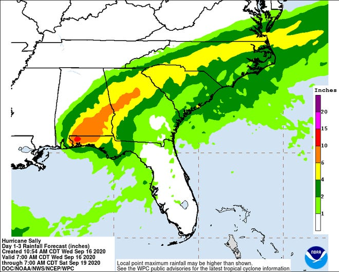Hurricane Sally is expected to bring rain and possible flooding to the Wilmington area.
