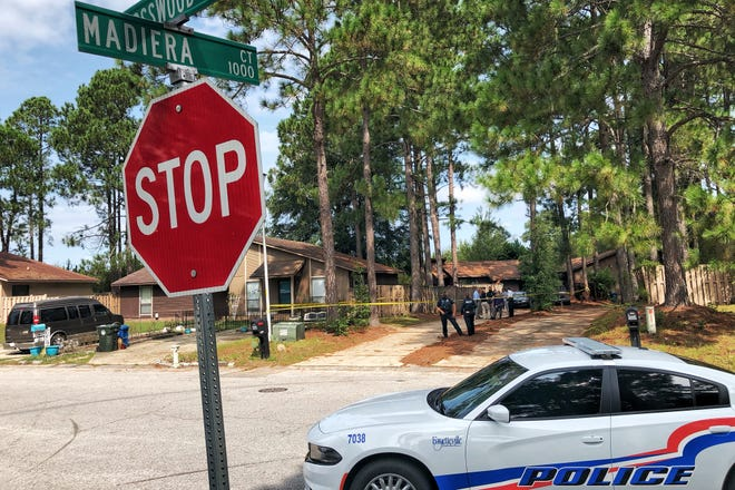 Police investigate the self-inflicted shooting of a 2-year-old boy Wednesday. Police said Saturday that the boy has died.
