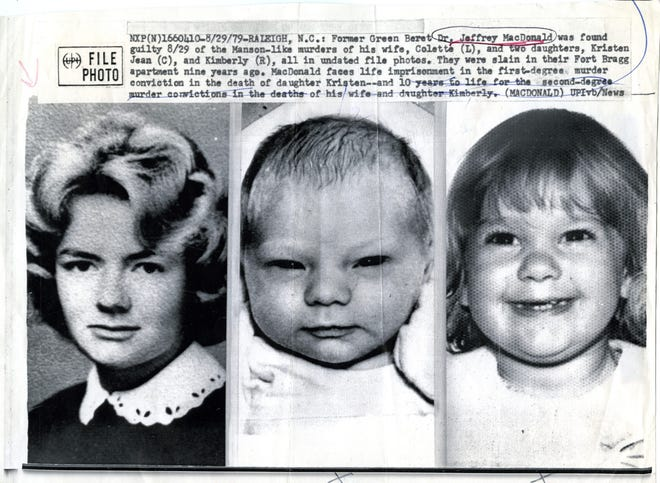 Colette MacDonald, 26, and her two daughters, Kimberly, 6, and Kristen Jean, age 2, were found slain in their home on Feb. 17, 1970. [File/The Fayetteville Observer]
