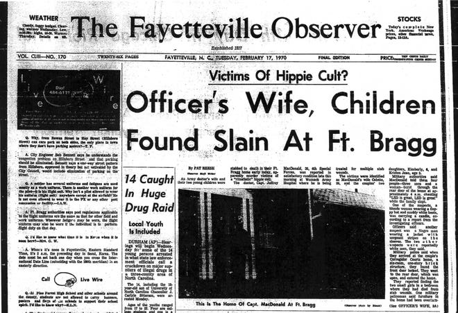 The front page of The Fayetteville Observer on Feb. 17, 1970, the day Jeffrey MacDonald's pregnant wife and two children were found slain in their home and MacDonald injured.