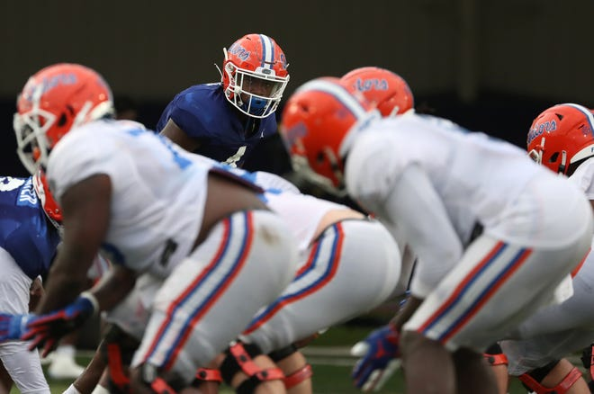 Florida linebacker David Reese eyes making a move during practice. [UAA Communications photo by Courtney Culbreath]