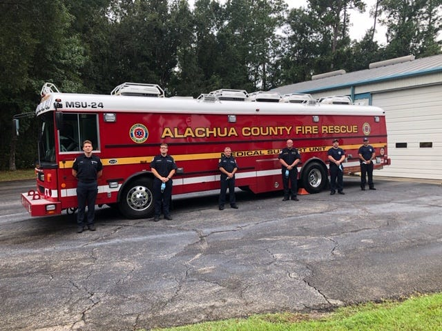 An Alachua County Fire Rescue crew and rescue bus leave for the Panhandle Wednesday.  [Photo courtesy of Alachua County Fire Rescue Chief Harold Theus]
