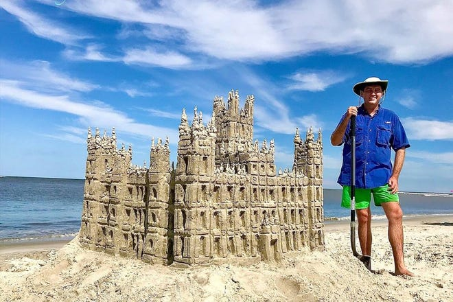 Dylan Mulligan, the Georgia Sandman, built a replica of Highclere Castle, known to the world as Downton Abbey. This creation, built at Gould's Inlet on Saint Simons Island, Georgia, took seven hours to build and contains more than 100 gallons of water.