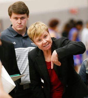 Shelton State Head Coach Madonna Thompson gives pointed directions during a timeout at Shelton State Thursday, Dec. 5, 2019. The Shelton women defeated Wallace-Selma 87-68. [Staff Photo/Gary Cosby Jr.]