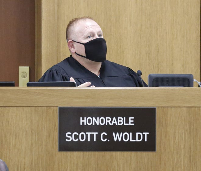Winnebago County Circuit Judge Scott Woldt speaks Wednesday, Sept. 16, 2020, in a Winnebago County courtroom in Oshkosh, during the third day of Brian Sullivan's trial for the Aug. 18, 2018, crash when the boat he was driving collided with another boat on Lake Winnebago, killing Lauren Laabs, 26, and her sister Cassie Laabs, 20, both of Neenah.