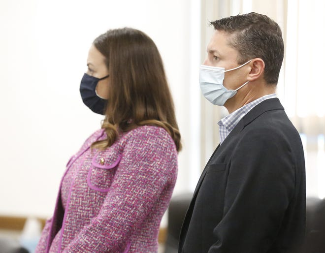 Brian Sullivan, right, stands with his attorney, Brianna Meyer, in a Winnebago County courtroom on the third day of Sullivan's trial. Sullivan was convicted of multiple charges for his role in a boat crash that led to the deaths of Lauren Laabs, 26, and Cassie Laabs, 20, both of Neenah.