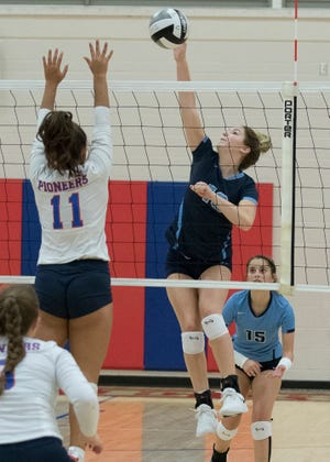 Hannah Burns delivers a spike against Zane Trace to attempt to score. Adena defeated Zane Trace 3-2.