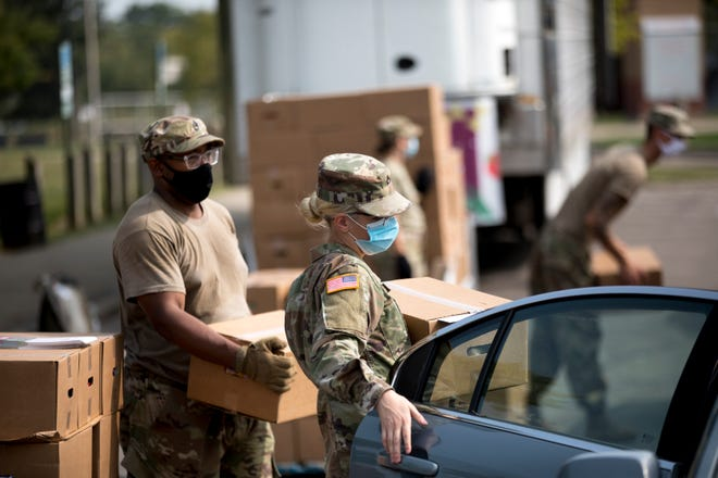 Gov. Mike DeWine thanked the Ohio National Guard as it ended its humanitarian mission to help food banks across the state during the coronavirus pandemic.