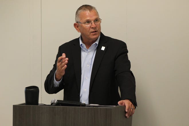 Ron Schumacher, Terra State Community College's president, speaks at Wednesday's State of the College address at the college's Fremont campus. Schumacher said the college is partnering with The Bellevue Hospital to provide COVID-19 testing on campus soon for students, faculty and staff.