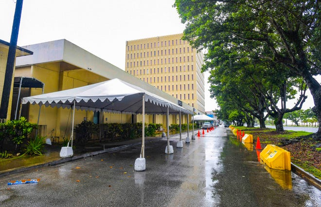 Canopies, traffic cones, and traffic barriers could be found set up along the curb fronting the GCIC Building in Hagåtña, and the annex extension nearby, on Wednesday, Sept. 16, 2020.
