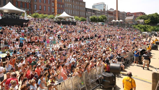Fans at the Chevrolet Riverfront Stage during the 2018 CMA Music Festival in downtown Nashville.