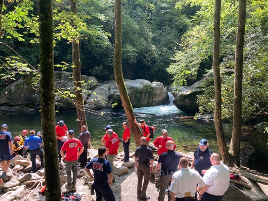 Park officials and emergency personnel gathered at Midnight Hole in the Big Creek Area of Great Smoky Mountains National Park to search Yogesh Patel, 25, of Illinois. Patel's body was found Tuesday, Sept. 16, 2020.