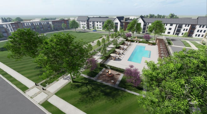 Architectural designs show the potential redevelopment of the 30-acre School Sisters of Notre Dame complex, 13105 Watertown Plank Road, in Elm Grove.