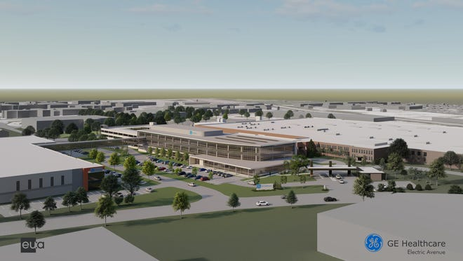 Rendering of GE Healthcare's proposed plant in West Milwaukee.