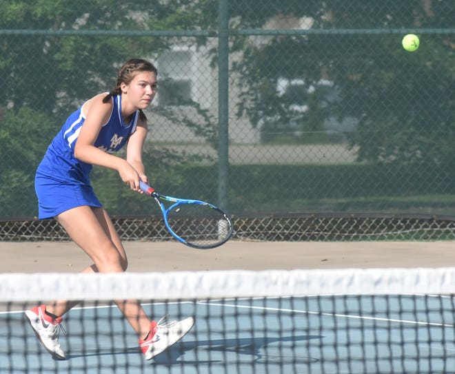 Mountain Home's Josie Arp returns a shot against her Van Buren opponent on Tuesday at Mountain Home Athletic Club.