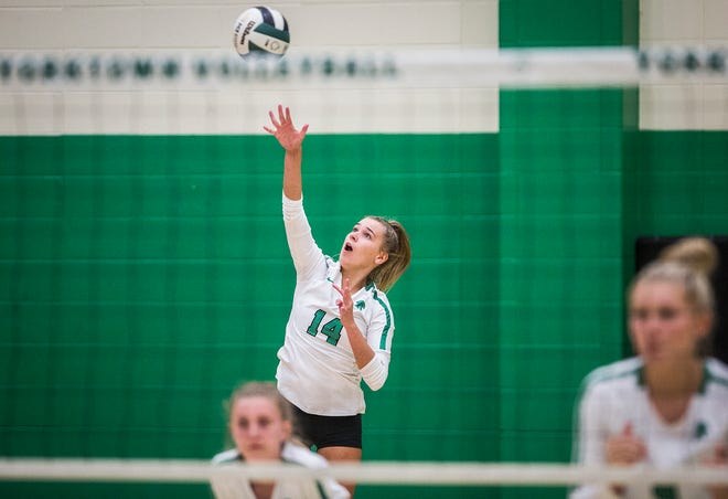FILE -- New Castle's Nicole Wilkinson serves a ball during a match against Yorktown at Yorktown High School Tuesday, Sept. 15, 2020. Wilkinson committed to Rider University on April 12.