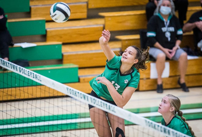 Yorktown's Kaitlyn Judge spikes a ball during a match against New Castle at Yorktown High School Tuesday, Sept. 15, 2020.